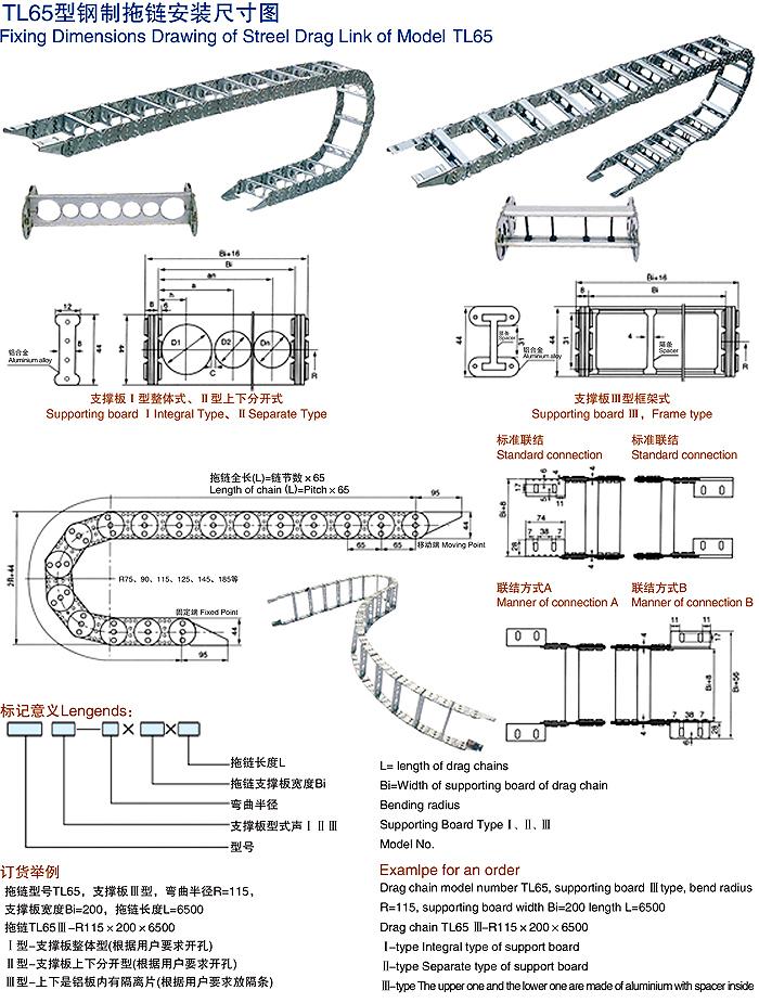 TL65型钢制拖链安装图